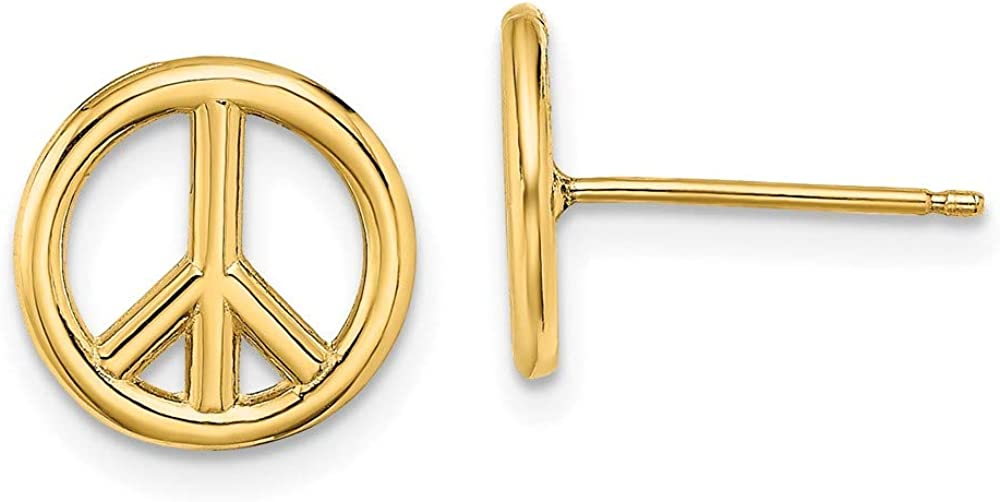 14k Yellow Gold Peace Symbol Post Stud Earrings Ball Button Inspiration Fine Jewelry For Women Gifts For Her