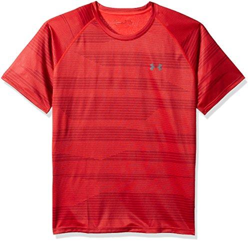 Under Armour Men's Tech Printed Short Sleeve Shirt, Pierce (629)/Rhino Gray, Small