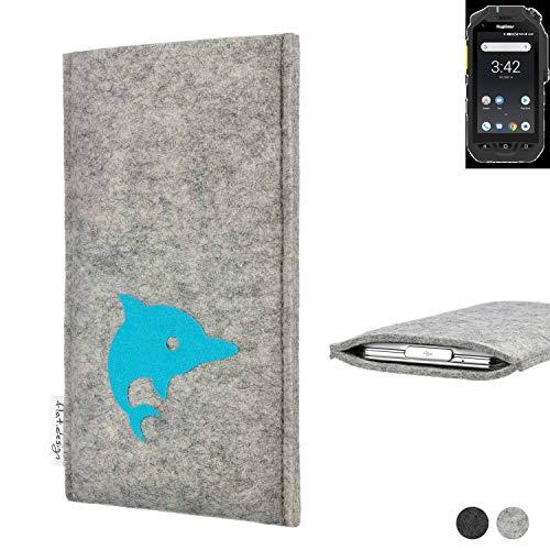 flat.design Handy Hülle für Ruggear RG725 FARO mit Delphin handgefertigte Filz Tasche fair