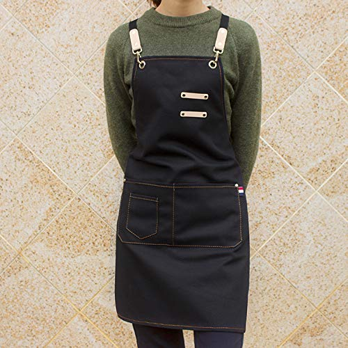 YXDZ Senior Coffee Shop Schürze Koreanische Mode Leinwand Nagelstudio Friseur Arbeitskleidung Schwarz