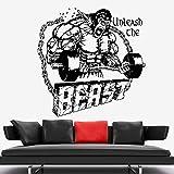 LKJHGU Beast Mode Barbell Fitness Motivation Vinyle Sticker Mural Football Volleyball Rugby