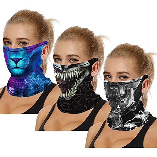 3PCS Unisex Bandana Face Scarf with Ear Loops, Cooling Neck Gaiter Mouth Cover for Dust Sun Protection Rave Balaclava (Leopard & Venom & Skull)