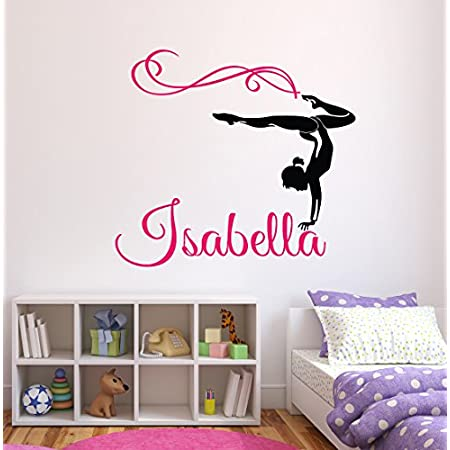 Gymnastics Sticker Personalised Name Wall Art Sticker Girls Bedroom Gym Decal