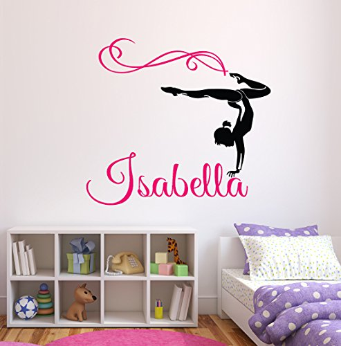 Lovely Decals World Custom Gymnastique Nom Stickers muraux – Filles Enfants Décoration de Chambre – Chambre d'enfant Stickers muraux – Décor Mural pour Adolescents Filles, 32Wx28H
