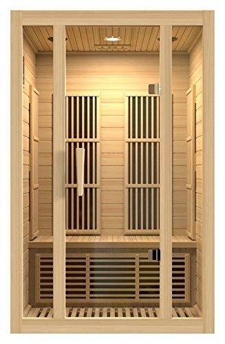 BOTARO Maxxus Saunas MX-J206-01 Seattle Carbon Far Infrared Sauna for 2 Persons, Hemlock Wood