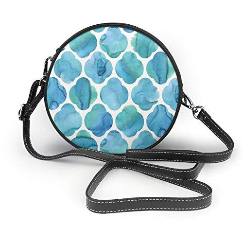 Marokkanische Fliesen Aquarellblau Damen Schräg Tasche, Personalisierte Einzelschulter Tasche, Datum Tasche Tourist Tasche