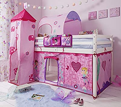 Noa and Nani Cabin Bed Midsleeper with Tent,Tower, Tunnel & Bed Tidy in Fairies