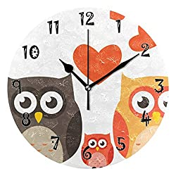 Dozili Family Owl Wooden Round Wall Clock Arabic Numerals Design Non Ticking Wall Clock Large for Bedrooms,Living Room,Bathroom