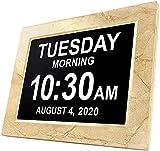 LZW Lifetime Americana Oggi Orologio Extra Grande Orologio Digitale Visione Alterata con Batteria di Backup E Molteplici Opzioni di Allarme, Mogano, Mogano, 8 Pollici,2