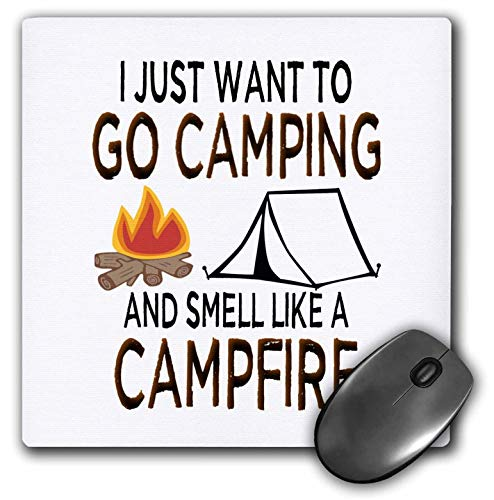 3dRose Carrie Quote Image - Quote I Just Want to Go Camping and Smell Like A Campfire - Mousepad (mp_320013_1)