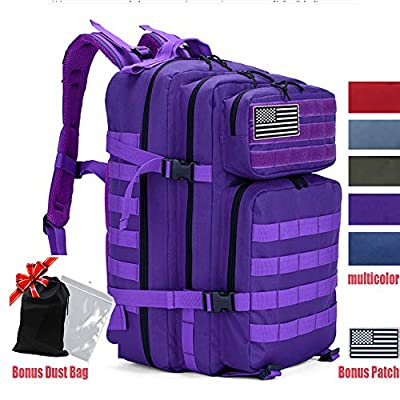 LHI Military Tactical Backpack for Men and Women 45L Army 3 Days Assault Pack Bag Large Rucksack with Molle System - Purple