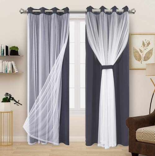 BONZER Grey Blackout Curtains with White Sheer Voile Double-Layered Mix and Match Curtains Grommet Curtains for Living Room, Grey, 52x84 Inch, Set of 2 Panels