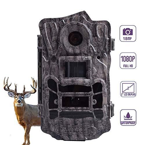 BolyGuard Wildcamera, 18MP 1080P Full HD, jachtcamera, lage Glow infrarood, 30 m, nachtzicht, bewegingsmelder, mobiele telefoon, bewaking, 2 inch LCD-scherm, IP65 waterdichte nachtzichtcamera, wilddierkamera, fotoval