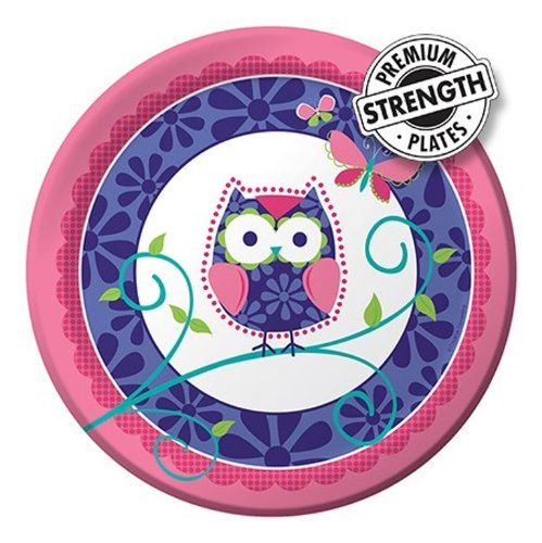 8-Count Round Paper Dinner Plates, Owl Pal