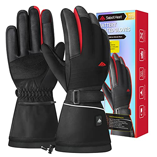 SabotHeat 2021 Upgrade Heated Gloves - Rechargeable 3000mAh Electric Heating Gloves, Washable Heated Gloves for Men Women, Heat Gloves for Winter Skiing Snowboarding Motorcycling Hunting, Size L