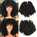 8 inch 5 packs Wand Curl 2X Synthetic Braiding Hair Crochet 22 roots/1pack Jamaican Bounce Synthetic Hair Extension 65g (8inch5pack, 1b)