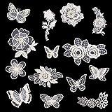 14 piezas de apliques de bordado floral, bordado blanco 3D de encaje de flores,...
