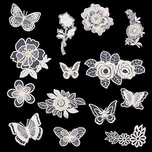 14 pezzi ricamo floreale applique, 3D ricamo bianco pizzo fiore farfalla ricamo costumi decorazione patch per abiti da sposa fai da te zaini jeans cappellini scarpe fermagli per capelli