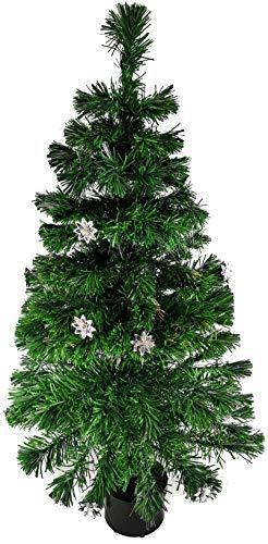 Weihnachtsbaum Künstlicher Tannenbaum Christbaum beleuchtet 120cm, grün, mit Glasfaser, Farbwechsler , 140 Flexible Zweigen, Stern Ornamente, 9 Verschiedene Lichteffekte