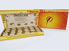 Authentic Indian Sweet- Kaju Katli, 32oz in festive Sukhadia box with golden tray Freshly made in USA Ethnic holiday gift Contents: approximately 24 pieces (stacks of 3) in box as shown, no silver paper as per FDA regulations Box dimensions: 7 L x 14...