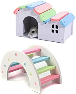 PINVNBY Wooden Hamster Hideout House,Pet Play Bridge Rat Mouse Exercise Toys for Small Animal Habitat (2 Packs)