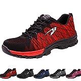 Zapatos de Seguridad para Hombre Transpirable Ligeras con Puntera de Acero Zapatillas de Seguridad Trabajo, Calzado de Industrial y Deportiva 42