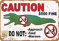 注意ワニに餌を与えないでくださいヴィンテージルックメタルサインウォールサイン20x30cm