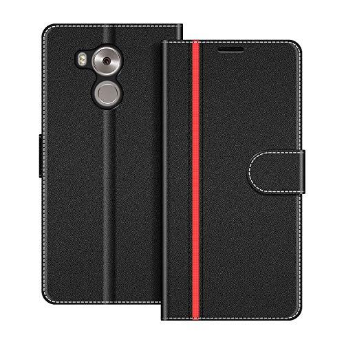 COODIO Handyhülle für Huawei Mate 8 Handy Hülle, Huawei Mate8 Hülle Leder Handytasche für Huawei Mate 8 Klapphülle Tasche, Schwarz/Rot
