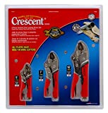 Crescent CLP3SETC 3 Piece 5-Inch, 7-Inch, and 10-Inch Curved Jaw Cushion Grip Locking Plier Set