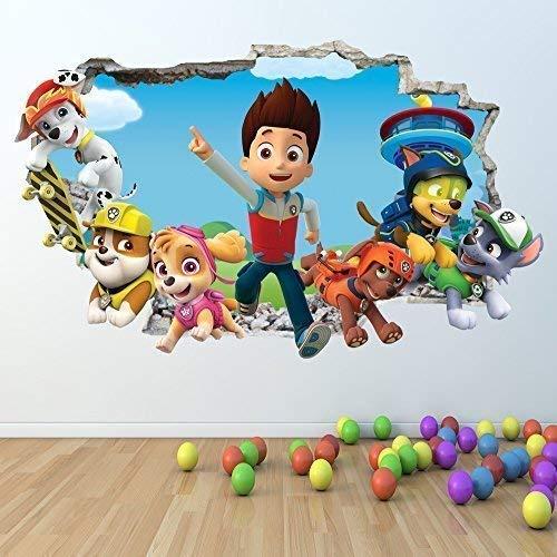 1Stop Graphics Shop Paw Patrol Wandaufkleber 3D Optik - Jungen Mädchen Schlafzimmer Wandkunst Aufkleber Z412 - Large: 70 cm x 112 cm