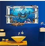 TFjXB DIY Pared Tatuajes Pared Imágenes Pared Mural Efecto 3d Mundo submarino Fondo de tiburón...
