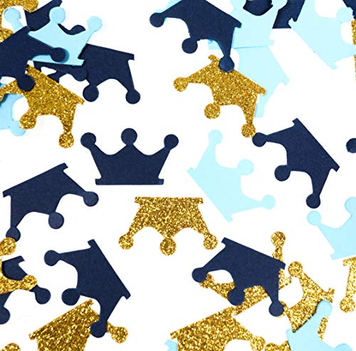 Fonder Mols Royal Blue and Gold Crown Confetti for Boy Birthday, Prince Baby Shower Decorations 200 Pcs/Pack