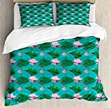 Blue and Pink Double Bedding Duvet Cover 3 Piece, Graphic of Lotus Flowers and Leaves, Soft Bedding Protects Comforter with 1 Comforter Cover 2 Pillow Case, Sea Blue Baby Pink Magenta and Forest Green