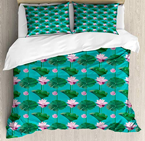 Blue and Pink Super King Bedding Duvet Cover 3 Piece, Graphic of Lotus Flowers and Leaves, Bedding Protects Comforter with 1 Comforter Cover 2 Pillow Case, Sea Blue Baby Pink Magenta and Forest Green