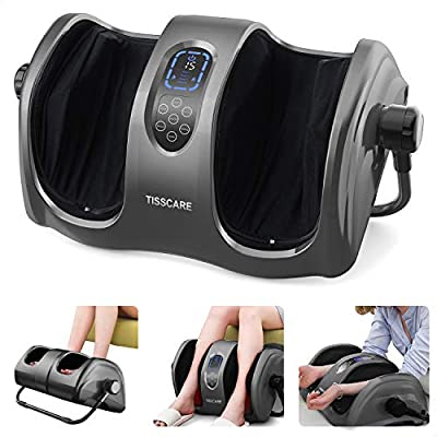 TISSCARE Foot Massager Machine with Heat, Shiatsu Foot and Calf Leg Massager for Plantar Fasciitis and Neuropathy, Deep Kneading Relieve Pain and Fatigue, Increases Blood Flow Circulation