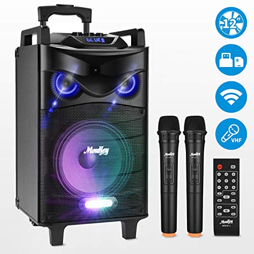 Moukey Karaoke Lautsprecher, Spitzenleistung 650W Karaoke System MTs12-1 PA Stereoanlage mit DJ Lights VHF Mikrofon Tablet Unterstützung Aufnahmefähigkeit Handgriff MP3/USB/SD/FM-Radio 12 Zoll