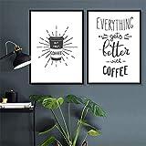 XWArtpic Minimalista Cocina Café Imágenes Decorativas sobre Lienzo sin Marco Decoración nórdica Hogar Cocina Habitación Pintura de Pared 60 * 80 cm