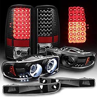 Xtune for 2000-2006 GMC Yukon Black Halo Projector Headlights + LED Tail Lights w/LED Signal 2001 2002 2003 2004 2005