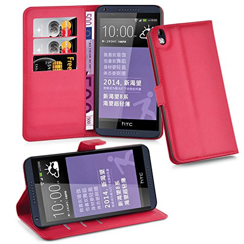 Cadorabo Hülle für HTC Desire 816 - Hülle in Karmin ROT – Handyhülle mit Kartenfach & Standfunktion - Hülle Cover Schutzhülle Etui Tasche Book Klapp Style