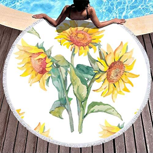 WT-DDJJK Serviettes de Plage, Fleurs de Soleil Couverture de Table Douce Serviettes de Tapisserie Rondes avec Pompon pour Enfants ou Adultes Le Soleil Blanc 59 Pouces