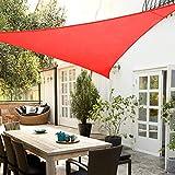 AZUOYI Toldo Vela de Sombra Triangular, protección Rayos UV y Oxford impermeabile para Patio, Exteriores, Jardín, con Set Completo di accessori, Color Gris,Rojo,5x5x7.1M