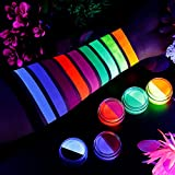 Water Activated Eyeliner, UV Glow Neon Cake Paint, 10 Bright Color in 5 Cake Hydra Eye Liner,UV Glow Blacklight Luminous Body Face Makeup Paint, Costume Halloween and Club Makeup Art Paint
