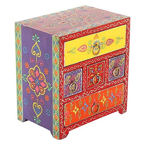 Casa Moro Mini-Kommode Asura bunt 19x13x21 cm cm (B/T/H) mit 5 Schubladen | Handbemaltes Holz-Kästchen aus Massivholz | Originelle Geschenk-Idee Muttertag Dekoration Asura RK102