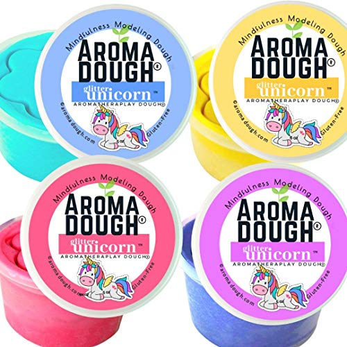 Aroma Dough Aromatherapy Dough – Sparkly Scented Rainbow Glitter Unicorn Modeling Dough – Non-Toxic Soy-Free Gluten Free Play Dough for Kids – All Natural Aromas –Pack of 4