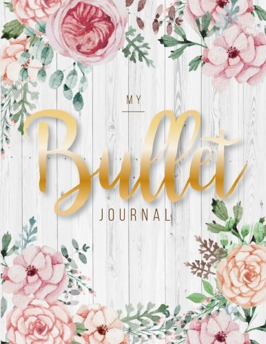 My Bullet journal: quarterly planner with blank yearly & monthly calendar, and habit tracker, 120 dot grid & 15 lined pages, 8.5x11in, White wood ... large diary journal to write in everyday life