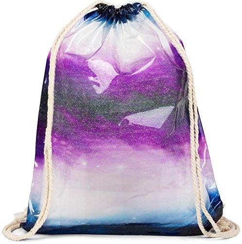 styleBREAKER transparenter Turnbeutel mit Farbverlauf Muster, wasserabweisend, Sportbeutel, Rucksack, Beutel, Unisex 02012249, Farbe:Violett-Blau