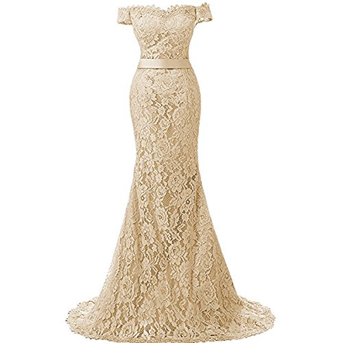 Yuxin Elegant Lace Mermaid Wedding Dresses Long Formal Evening Party Bridal Gowns(Champagne, 16)