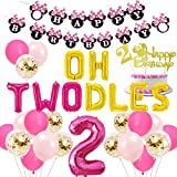 2nd Birthday Decorations Themed of Minnie Mouse for Girls, Oh Twodles Number 2 Foil Balloon, Happy Birthday Banner and Minnie Theme Cake Topper for Second Birthday Party Supplies