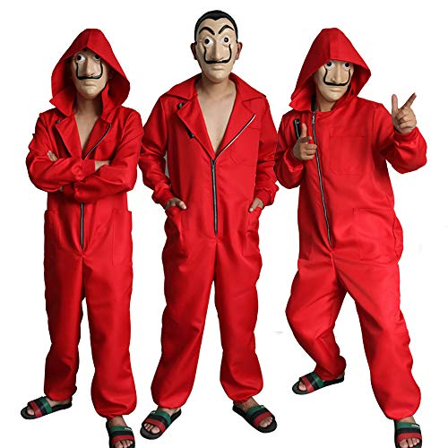 Red Jumpsuit Dali Kostüm Maske für la casa de Papel Kinder Erwachsene One Piece Overall Halloween Fancy Party Cosplay Kostüm
