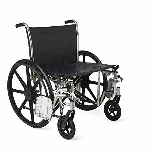 """Medline MDS806900 Excel Extra-Wide Bariatric Wheelchair, 24"""" Wide Seat, Desk-Length Removable Arms, Swing Away Footrests, Chrome Frame"""